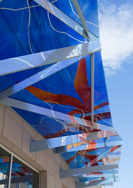 Untitled (blue and red glass awning)