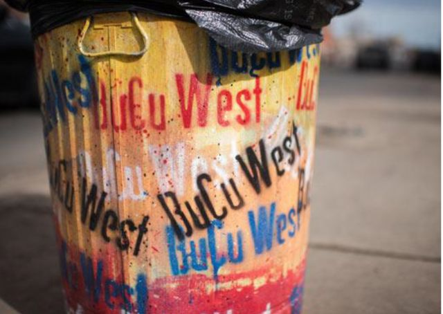 BuCu West Benches and Trash Cans