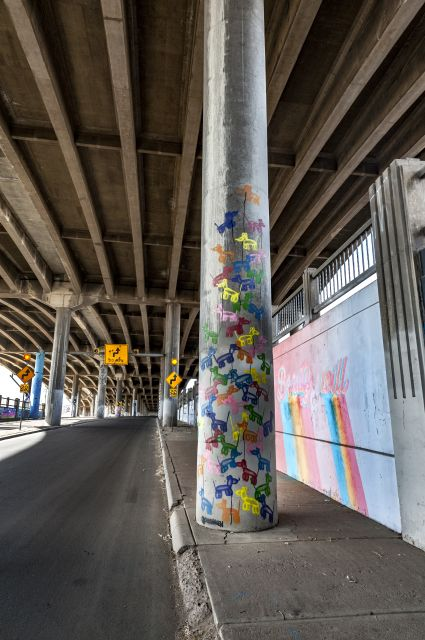 Untitled (colorful concrete columns painted under I-70)