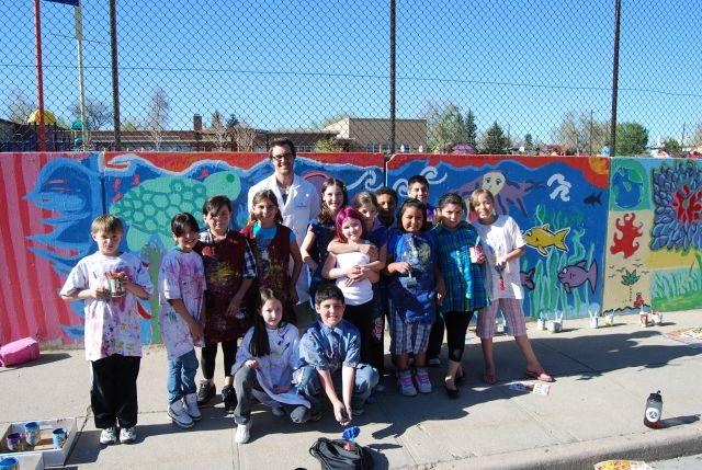 Brown Elementary School (flowers, blue design)