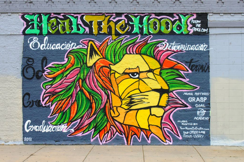 Go to the Heal the Hood (colorful lion image) page