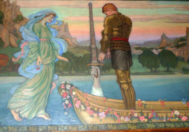 King Arthur Recovering the Magic Sword Excalibur