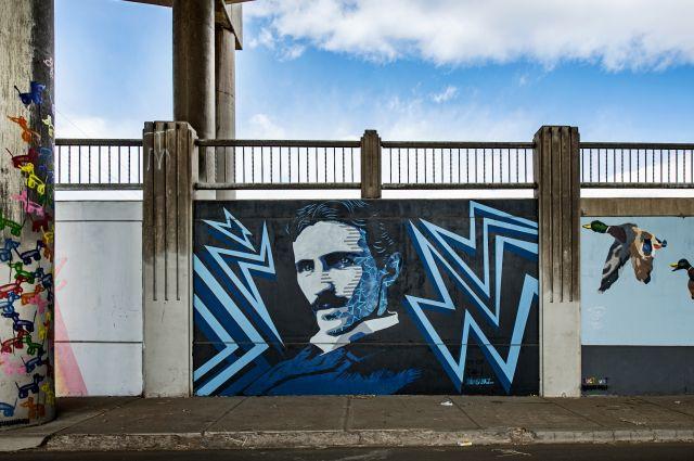 Untitled (portrait of Nikola Tesla in blue)